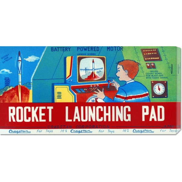 Global Gallery Retrorocket 'Rocket Launching Pad' Stretched Canvas