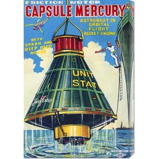 Global Gallery Retrorocket 'Capsule Mercury' Stretched Canvas