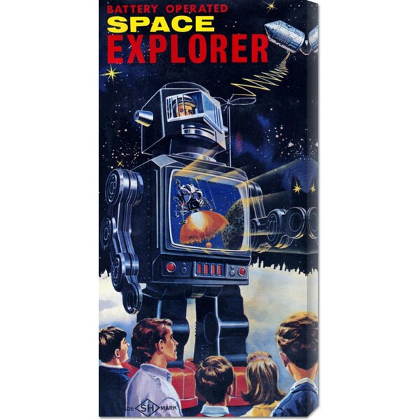Global Gallery Retrobot 'Space Explorer Robot' Stretched Canvas