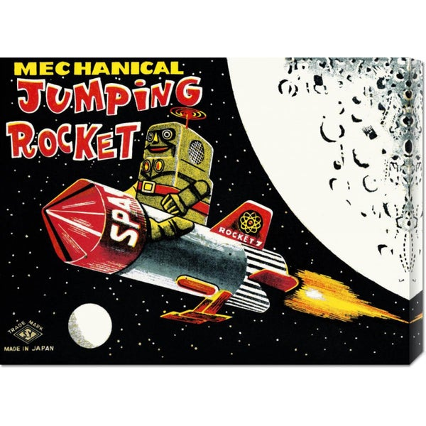 Global Gallery Retrobot 'Mechanical Jumping Rocket' Stretched Canvas