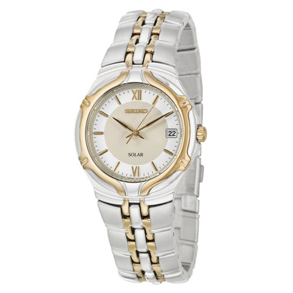 Seiko Men's 'Solar' Stainless Steel and Yellow Goldplated Watch