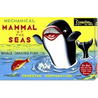Global Gallery Retrobot 'Mammal of the Seas: Whale Chasing Fish' Stretched Canvas Art