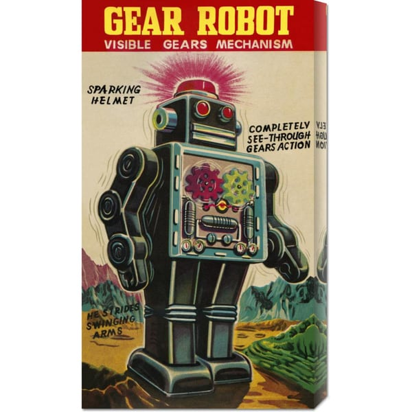 Global Gallery Visible Mechanism Retrobot 'Gear Robot' Stretched Canvas Art