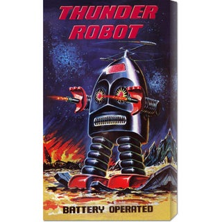 Global Gallery Retrobot 'Thunder Robot' Stretched Canvas Art