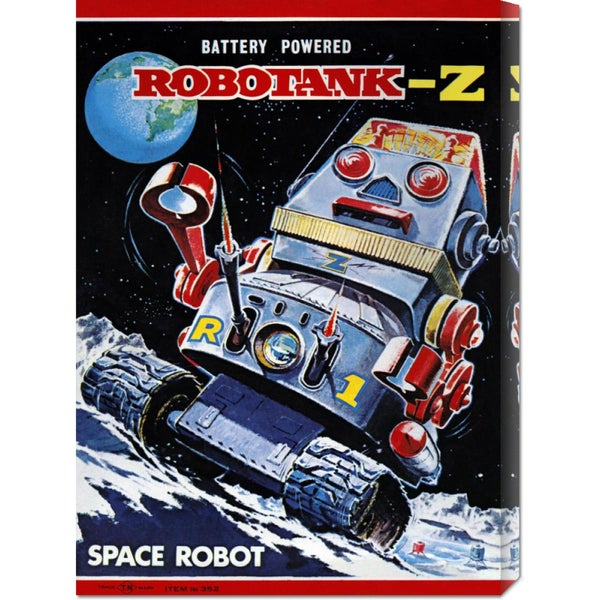 Global Gallery Retrobot 'Robotank-Z Space Robot' Stretched Canvas Art