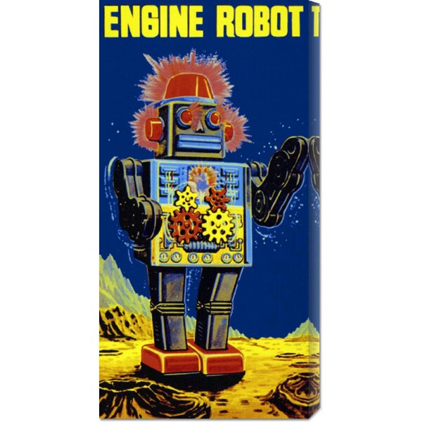 Global Gallery Retrobot 'Engine Robot' Stretched Canvas Art