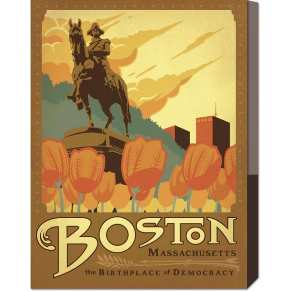Global Gallery 'Boston, The Birthplace of Democracy Square' Stretched Canvas