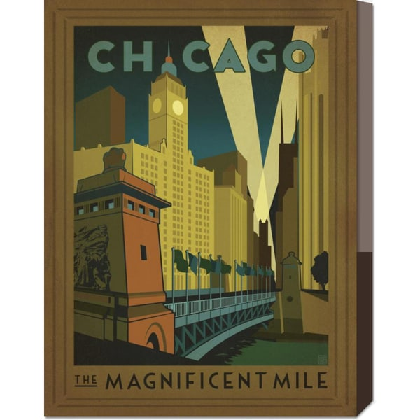Global Gallery 'Chicago, The Windy City (with ADG decorative border)' Stretched Canvas
