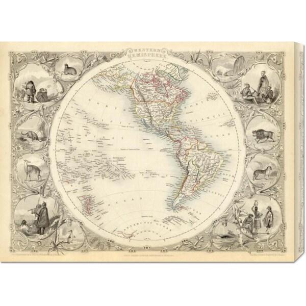 Global Gallery R.M. Martin 'Western Hemisphere, 1851' Stretched Canvas Art