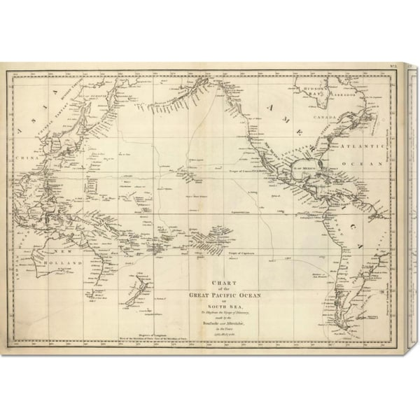 Global Gallery Jean-Francois de Galaup La Perouse 'Chart of the Great Pacific Ocean, 1799' Stretched Canvas