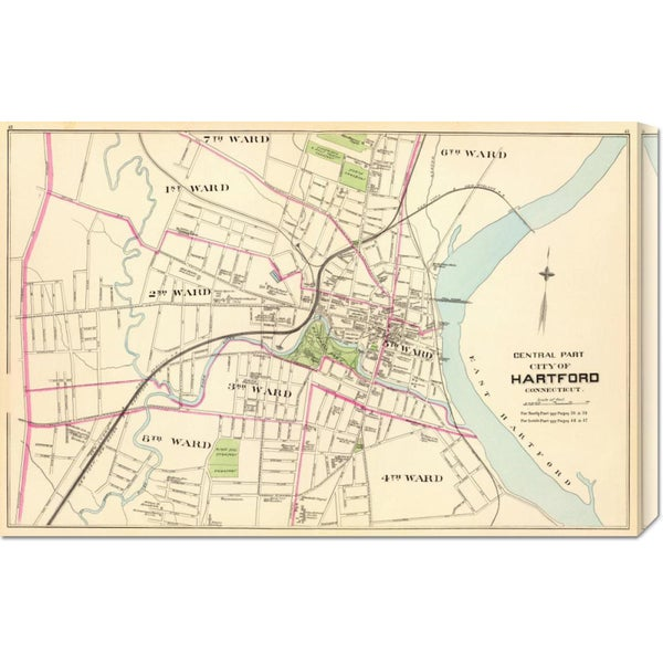 Global Gallery D.H. Hurd and Co. 'Connecticut: Hartford, Central, 1893' Stretched Canvas