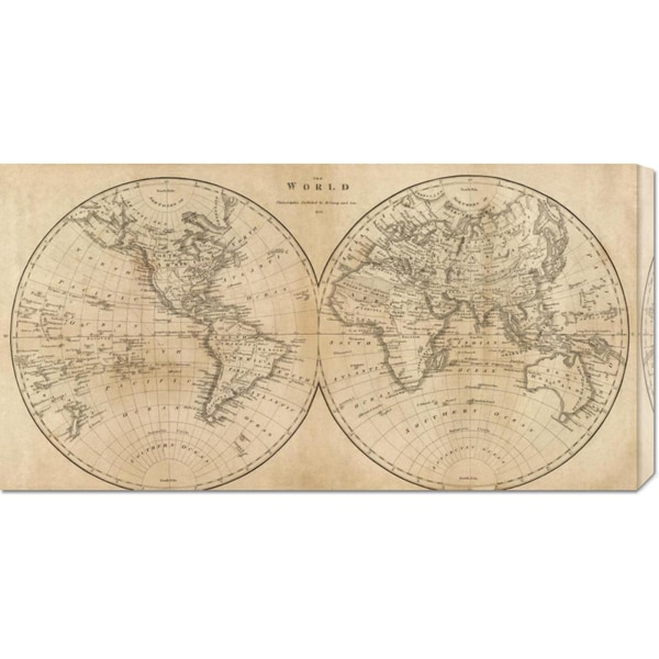 Global Gallery Mathew Carey 'The World, 1825' Stretched Canvas