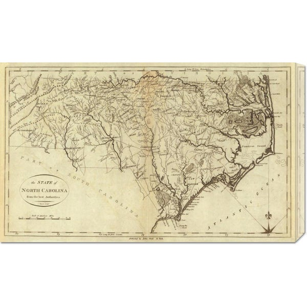 Global Gallery John Reid 'State of North Carolina, 1796' Stretched Canvas Art