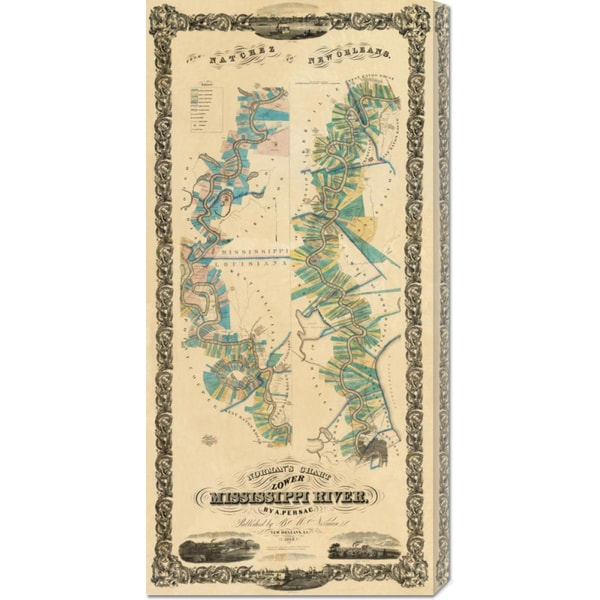 Big Canvas Co. B.M. Norman 'Chart of The Lower Mississippi River, 1858' Stretched Canvas Art