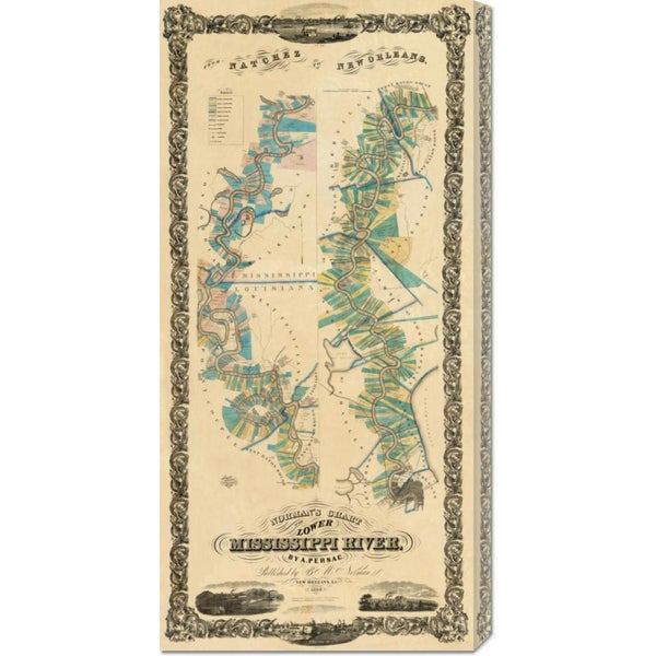 Global Gallery B.M. Norman 'Chart of The Lower Mississippi River, 1858' Stretched Canvas Art