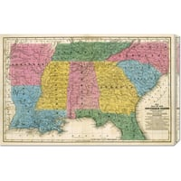 Global Gallery Samuel Augustus Mitchell 'Map of the Southern States, 1839' Stretched Canvas Art - Multi