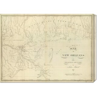 Global Gallery John Melish 'Map of New Orleans and Adjacent Country, 1824' Stretched Canvas Art