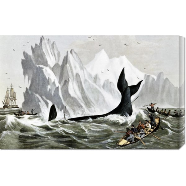 Global Gallery Currier and Ives 'Capturing The Whale' Stretched Canvas Art