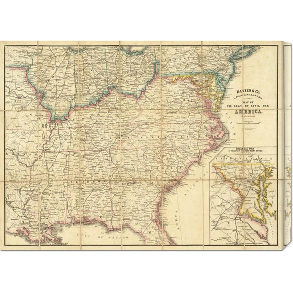 Global Gallery Davies and Co. 'Map of The Seat of Civil War In America, 1862' Stretched Canvas Art