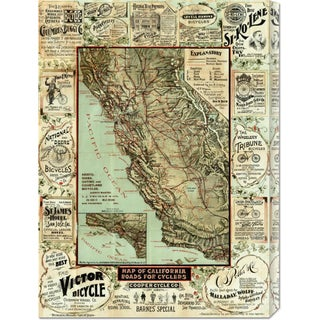 Global Gallery George W. Blum 'Map of California Roads for Cyclers, 1896' Stretched Canvas Art