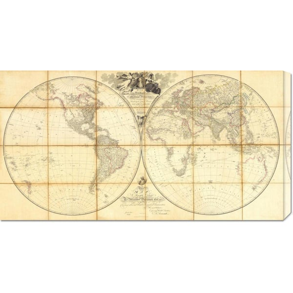 Global Gallery Aaron Arrowsmith 'Map of the World, Researches of Capt. James Cook, 1808' Stretched Canvas Art