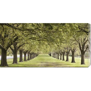 Global Gallery, Ocean Images 'Rows of trees bordering greensward (detail)' Stretched Canvas Art - Green