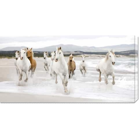 Global Gallery Zero Creative Studio 'Horses on the Beach (detail)' Stretched Canvas Art