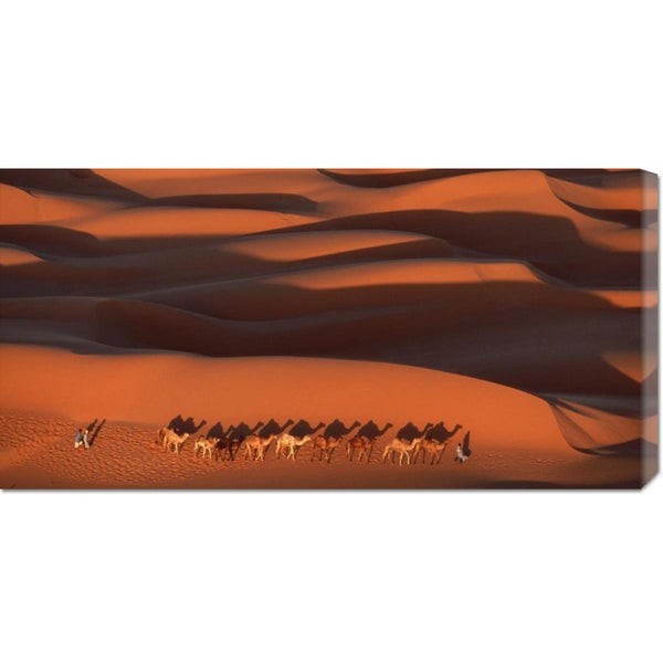 Global Gallery Yann Arthus-Bertrand 'Camels Crossing Amber Dunes, Mauritania' Stretched Canvas Art