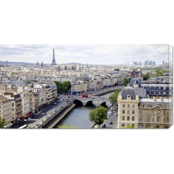 Global Gallery Vadim Ratsenskiy 'View of Paris' Stretched Canvas Art