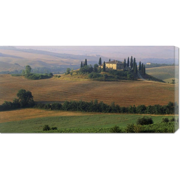 Global Gallery, Sergio Pitamitz 'Tuscany, Val d'Orcia, fields at sunrise' Stretched Canvas Art