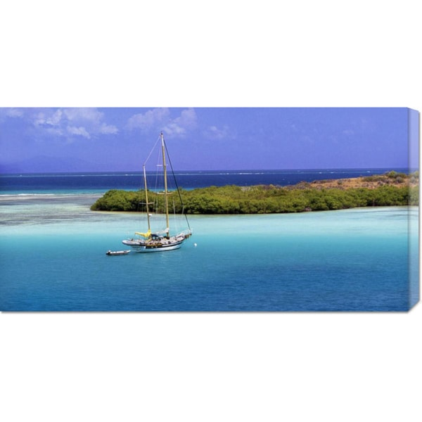 Global Gallery George H.H. Huey 'Sailboat at anchor, Island of Culebra, Puerto Rico' Stretched Canvas Art
