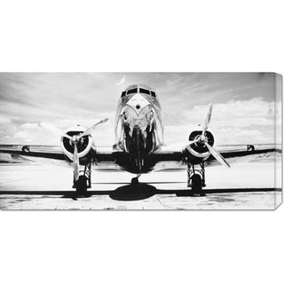 Global Gallery Philip Gendreau 'Passenger Airplane on Runway' Stretched Canvas Art