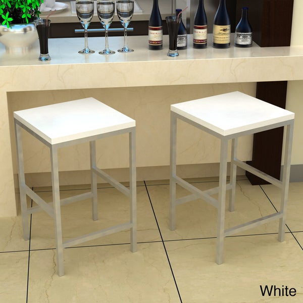 Carson White 24-inch Stool
