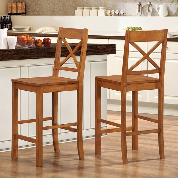 Antique Brown Solid Wood Barstools (Set of 2)