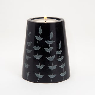 Hand-carved Cone Shaped Palewa Soapstone Tea Light Holder (India)