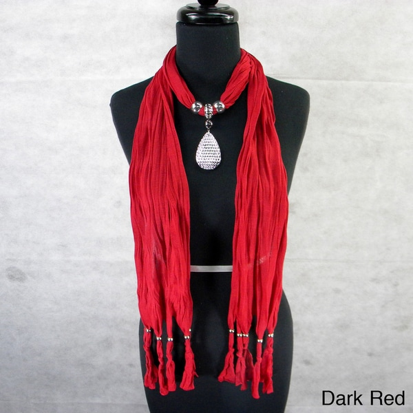 Fashion Jewelry Scarf with Textured Pendant