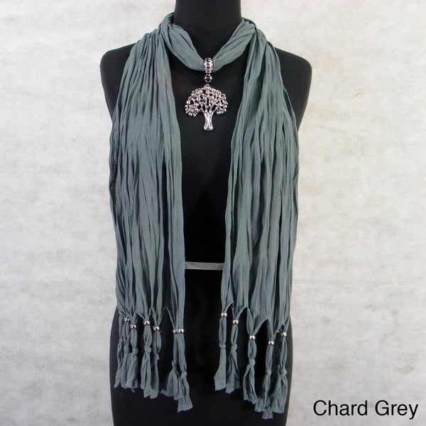 Fashion Jewelry Scarf with Silvertone Tree Pendant