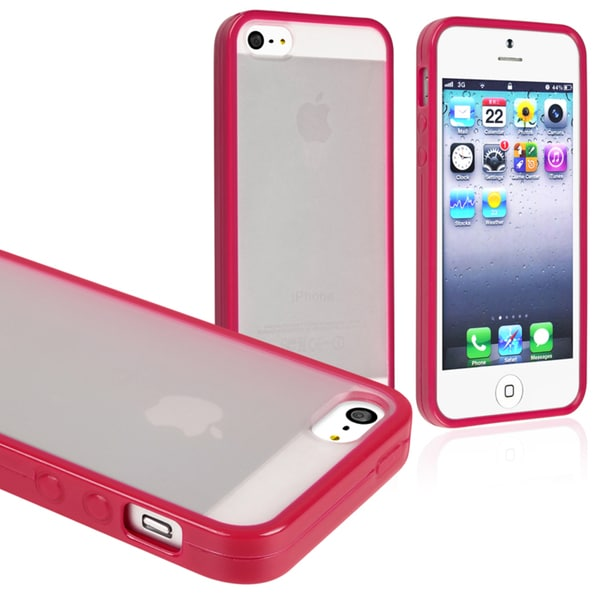 INSTEN Frost Clear/ Hot Pink Bumper Snap-on Phone Case Cover for Apple iPhone 5/ 5S