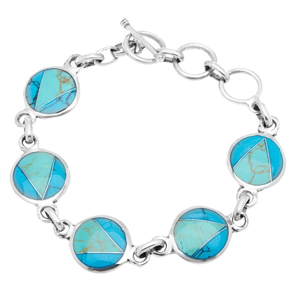 Handmade Mexican Alpaca Silver and Turquoise Disk Bracelet (Mexico)