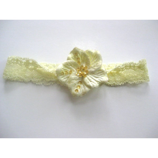 Bobitty Boo Tilly Cream Lace Headband with Velvet Sequin Flower