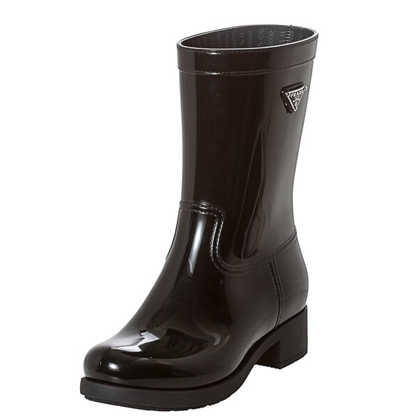 Prada Black Logo Mid-calf Rain Boots
