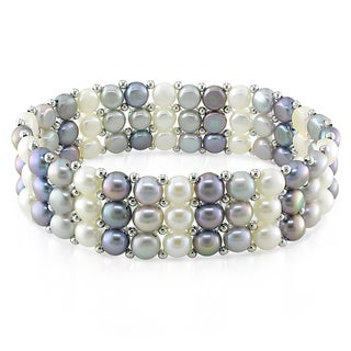 Miadora Silvertone White Grey and Black Cultured Freshwater Pearl Bracelet (5-5.5 mm)