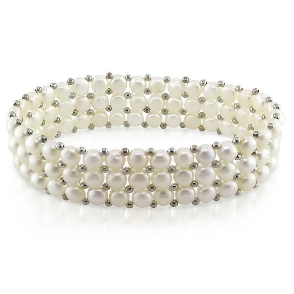 Miadora Silvertone White Cultured Freshwater Pearl Stretch Bracelet (5-5.5 mm)