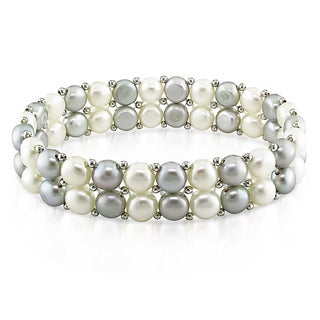 Miadora Silvertone White and Grey FW Pearl Stretch Bracelet (6.5-7 MM)