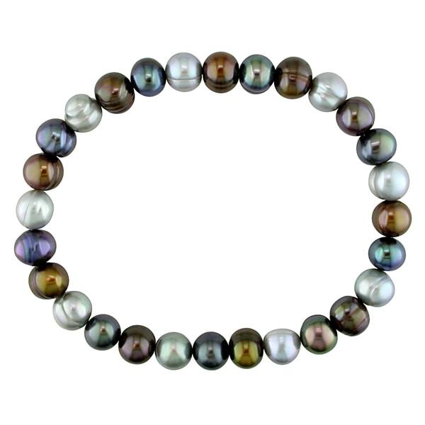 Miadora Black, Brown and Grey Pearl Stretch Bracelet (7-8 mm)