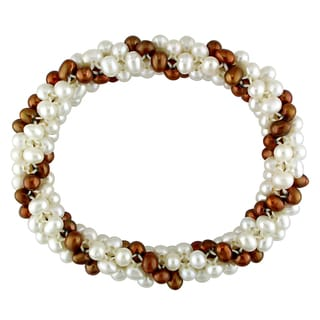 M by Miadora White and Brown Cultured Freshwater Pearl Multi-row Stretch Bracelet (4-5 mm)