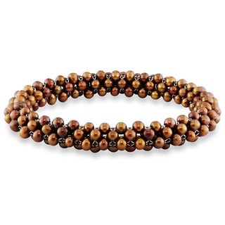 M by Miadora Brown Cultured Freshwater Pearl Stretch Bracelet (4-5 mm)