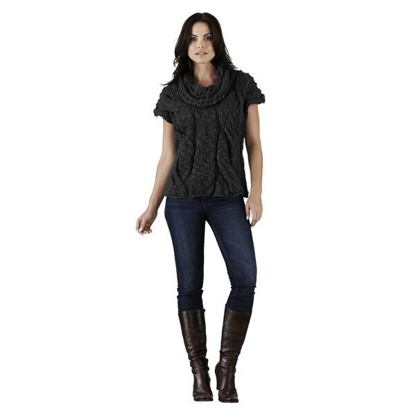 Elan Women's Black Cap-sleeve Turtleneck Sweater