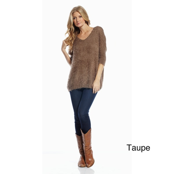 Elan Women's 3/4 Sleeve V-neck Sweater