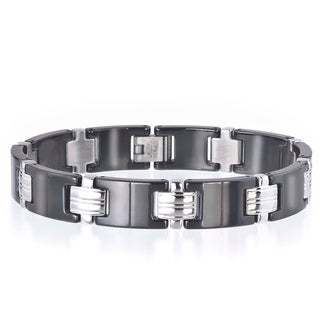 Stainless Steel and Black Ceramic Men's Link Bracelet By Ever One
